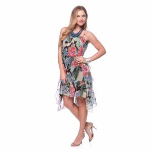 Andrew Charles Red Floral High-low Hem Dress
